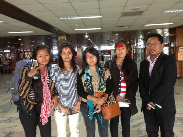 a batch of Nepalese students on arrival at Kunming airport