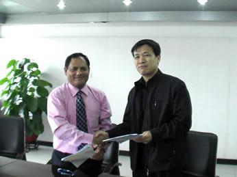 Mr.Chhetri with the Vice President in contract signing ceremony of GMU