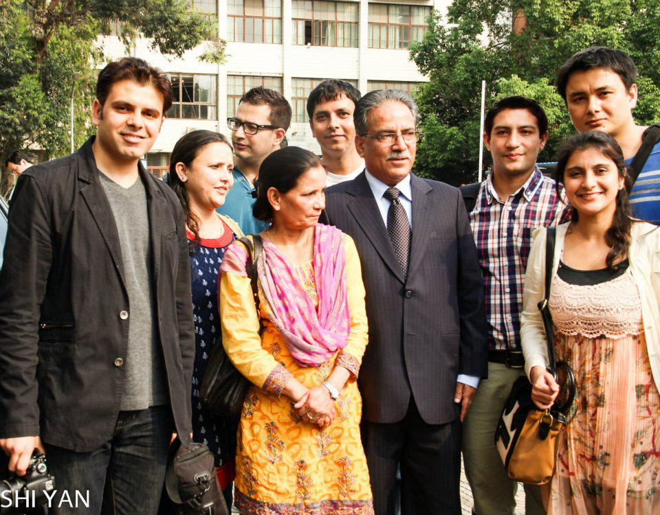 Former PM Prachanda with Nepalese students at SCU